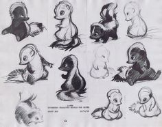 "Bambi, ""Skunk"" Flower Character Model Sketches, Sheet 23 - 12/10/1938"