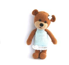 stuffed teddy bear, crocheted brown bear with blue skirt, autumn fall baby toy, stuffed animal amigurumi toy for children, gift for children...
