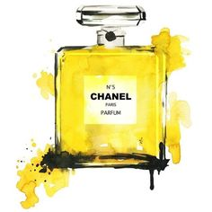 Yellow Perfume illustration fashion illustration Art Print ❤ liked on Polyvore featuring home, home decor, wall art, yellow home accessories, yellow home decor and yellow wall art