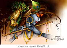 easy to edit vector illustration of Lord Krishna playing flute on Happy Janmashtami holiday Indian festival greeting background , Happy Janmashtami Image, Janmashtami Images, Janmashtami Wishes, Janmashtami Quotes, Sri Krishna Janmashtami, Cute Krishna, Krishna Art, Radhe Krishna, Hinduism