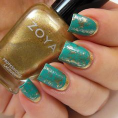 Turquoise and gold, ruffian manicure with saran wrapped overlay