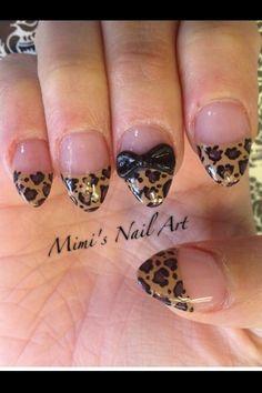 gel nails over leopard tip oval nails,