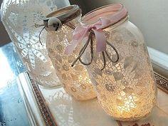 frascos decorados con encaje
