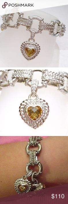 Posh Love Host Pick!!  Judith Ripka Charm Bracelet The bracelet has a toggle bar and ring clasp. The toggle bar has two round cabochon cut citrines that measure 3 mm each. The bracelet also has an enhancer charm that that can be worn on it or removed to wear independently. The charm is heart shaped with an 8mm heart shaped citrine. The bail on charm has cubic zirconias on the front and the back has 2 opening clasp pieces to attach it.  The bracelet is stamped Judith Ripka 925 CZ Thailand…