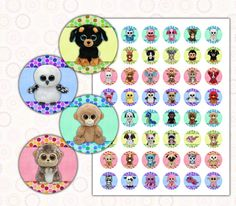 """Beanie Boo's 1 inch digital images collage sheet 8.5x11"""" $1.75 instant download"""