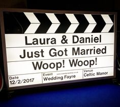 Giant Light-up Clapper Board Prop. Available to hire, personalised for weddings and events. Cinema Sign, Prop House, London Party, Wedding Fayre, Wedding 2017, Party Props, Party Entertainment, Childrens Party, Cardiff
