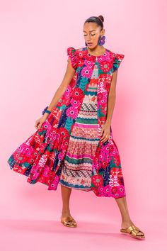 Flowy midi dress printed in our Magic Garden cotton silk featuring a crew neckline, contrasting inverted pleat, flutter sleeves, and full skirt. Bold Fashion, Colorful Fashion, Spring Fashion, Womens Fashion, Fashion Design, Tropical Fashion, Crazy Fashion, Flowy Midi Dress, The Dress