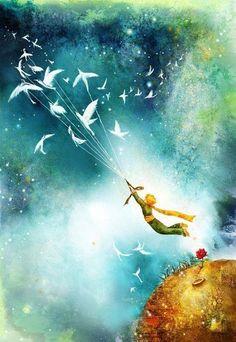 Dans la photo le petit prince utile les oiseau pour voler sur les autres planetes. Je crois que cette le chemin comment le petit prince a vole sur la terre aussi.