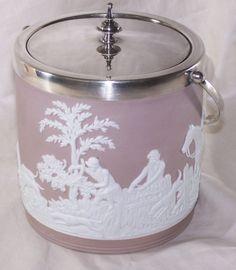 Antique Biscuit Jars | ... > Rare Lilac or Lavender Wedgwood Antique Biscuit or Cracker Jar