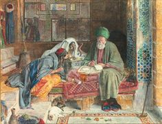 John Frederick Lewis (British, 1805-1876)  The Arab scribe, Cairo  Price realised  GBP 2,001,250 USD 3,336,084 Estimate GBP 500,000 - GBP 700,000 (USD 826,000 - USD 1,15