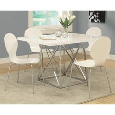 Monarch Kingsville White 5 Piece Modern Dining Set with White Bentwood Stools - MON691
