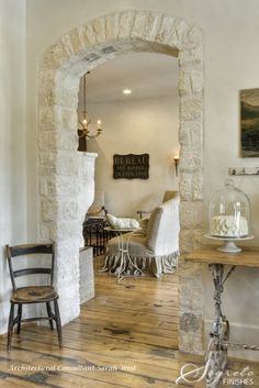 Neutrals, Shabby French...and I love that inlaid stone and the arch