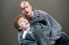 Benedict Cumberbatch and Jonny Lee Miller as Dr. Frankenstein and the Creature from Danny Boyle's theatrical adaptation of Mary Shelley's 'Frankenstein.' The two actors would alternate the two roles between performances.