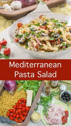 Are you compelled to let go of the mayonnaise in your salad. Let this bright and zesty Mediterranean Pasta Salad help you out. Olive oil, red wine vinegar, Dijon mustard and herbs make this salad mayo free and delicious. Easy Dinner Recipes, Pasta Recipes, Beef Recipes, Salad Recipes, Chicken Recipes, Cod Recipes, Carrot Recipes, Broccoli Recipes, Sausage Recipes