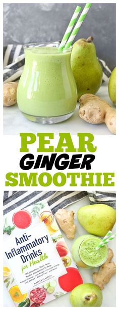 Anti-inflammatory Pear Ginger Smoothie SO delicious antiinflammatory antiinflammatorydiet freshginger ginger smoothies healthysmoothie recipes healthy Smoothies Kiwi, Smoothies Banane, Pear Smoothie, Smoothie Detox, Healthy Smoothies, Healthy Drinks, Diet Drinks, Smoothie Packs, Healthy Juicer Recipes