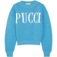Emilio Pucci Chunky-knit merino wool sweater ($770) ❤ liked on Polyvore featuring tops, sweaters, merino sweater, over sized sweaters, chunky knit sweater, drop shoulder sweater and oversized crop top