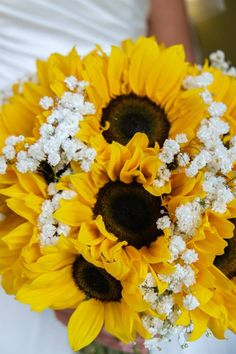 Sunflower and Gyps handtied bridal bouquet.