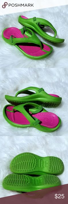 137d672fee50 3  15🎈SALE🎈CROCS Thong Slip On with Heel Straps Pink and green