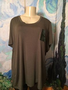 ELLEN TRACY PLUS 3X NEW OLIVE GREEN SEQUIN POCKET RAYON SHORT SLEEVE TUNIC TOP #EllenTracy #Tunic #Casual