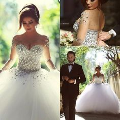 Tulle Wedding Dress,White Bridal Dress,Crystal Ball Gown Long Sleeve Wedding Gown by fancygirldress, $259.00 USD
