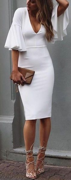 #summer #white #outfits | Midi White Dress