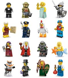LEGO® Minifigures Serie 9 (Jan. 2013)  Waiter; Cyclops; Hollywood Starlet; Heroic Knight; Roman Emperor; Policeman; Chicken Suit Guy; Roller Derby Girl; Fortune Teller; Judge; Alien Avenger; Mermaid; Battle Mech; Mr. Good And Evil; Forest Maiden; Plumber