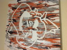 For my Cowboy friends - Oklahoma State University mascot Pistol Pete canvas! Masking tape and splatter paint! Oklahoma State University, Oklahoma State Cowboys, Pistol Pete, List Of Jobs, Front Door Decor, Paint Splatter, School Spirit, Crafty Craft, Arts And Crafts
