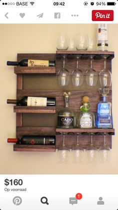 Rustic Dark Cherry Stained Wall Mounted Wine Rack with Shelves and Decorative Mesh, Wine and Liquor Shelf and Cabinet ON SALE Rustic Dark Cherry Stained Wall Mounted Wine Rack with by TheKnottyShelf Pallet Projects, Home Projects, Woodworking Projects, Diy Pallet, Pallet Wine Rack Diy, Woodworking Tools, Popular Woodworking, Woodworking Patterns, Craft Projects