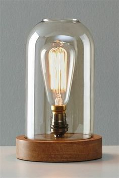 Glass Dome And Wood Table Lamp- for the office