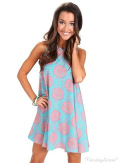 This Dancing In Circles Jade Patterned Dress is perfect for dressing up or down! Shop now at MondayDress.com!
