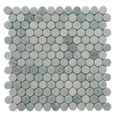 """Polished Ming Green marble mosaic tile in 1"""" penny rounds pattern. Tile Size: 12 x 12 in., 8mm thick 