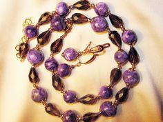 Купить Серьги в подарок Комплект из чароита Luxe - тёмно-фиолетовый, чароит натуральный, бусы из чароита