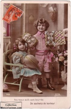 Vintage easter postcard, hand tinted