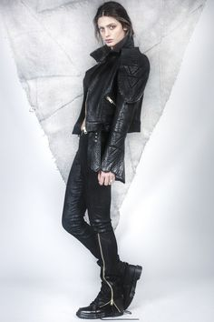 Leather Structured Jacket /// Black Leather and Lace Leggings Leather And Lace, Black Leather, Lace Leggings, Motorbikes, Women Wear, Book, Jackets, Style, Fashion
