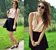 Andrea♡Wendy Jelenská - H&M Top, H&M Skirt, Orsay Glasses - Red lips