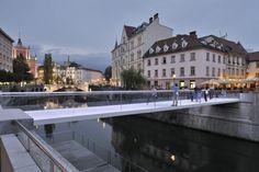 Footbridge Ribja brv / Arhitektura d.o, Ljubljana, Slovenia, © Miran Kambič Eco Architecture, Contemporary Architecture, Glass Bridge, Landscape Structure, Landscape Design, Glass Fence, Bridge Design, Pedestrian Bridge, Green Building