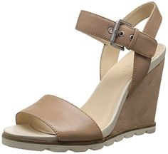 Nine West Womens Gronigen Leather Wedge Sandal Light Natural 95 M US -- This is an Amazon Affiliate link. Details can be found by clicking on the image.