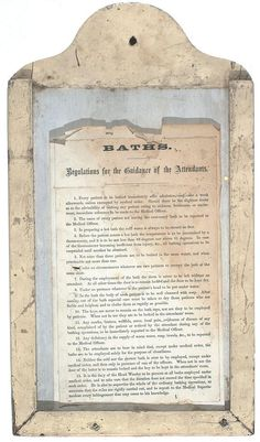 'Baths- Regulations for the Guidance of the Attendants',  c.1920-40.  Used in a psychiatric hospital in Victoria, Australia. Probably hung in the bathroom. There are 15 regulations for the Attendants to follow when giving the patients their weekly bath. A chart of regulations numbered 1-15 for baths for patients in a mental hospital in Victoria. eg. Rule no.5: Not more than 3 patients are to be bathed in the same water & when practicable not more than one.  Collection: Museum Victoria