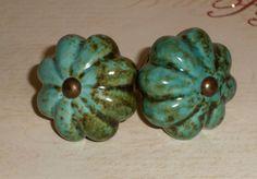 Cottage Chic Turquoise Scalloped Ceramic Aged Brass Drawer Knob Pulls Set of 2. $12.00, via Etsy.