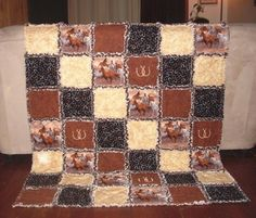 Handmade Wild Horses Rag Quilt Western Throw Blanket Rodeo Stallion Horseshoes | eBay