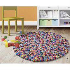 Pom Pom Round Rug in Rainbow - 100cm