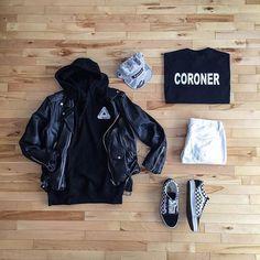 WEBSTA @ pier_luk - Night Job Jacket: Schott NYC Hoodie: @palaceskateboards Tee: GildanPants: @topmanHat: Samuel Spitzer Shoes: Vans Outfit Grids Dennis Todisco