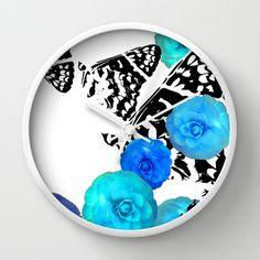 Camellia Aire Wall Clock by Vikki Salmela - $30.00 new wall clocks from Society6! #Contemporary #modern #butterfly #camellia #flower #black #white #blue #graphic #art for #kitchen #bedroom #office #studio #gift.