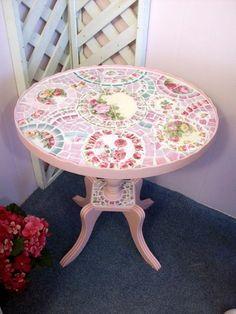 The Prettiest Petite Pink Mosaic Table by hillspeak, via Flickr