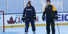 Bill Belichick & Claude Julien take the ice at Gillette Stadium #WinterClassic 2016