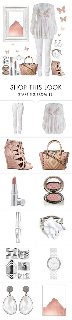"""""""White Out"""" by loves-elephants ❤ liked on Polyvore featuring Replay, Zimmermann, Sergio Rossi, La Prairie, Chantecaille, Clinique, Oscar de la Renta, Boohoo and DKNY"""