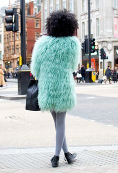 Street Style: Minty Fresh! Her afro is fantastic.