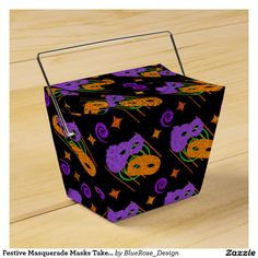 Festive Masquerade Masks Take-Out Favor Box Halloween Party Supplies, Custom Napkins, Party Hacks, Masquerade Masks, Take Out, Favor Boxes, Paper Plates, Gift Bags, Trick Or Treat