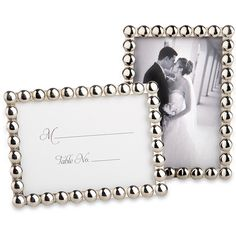 Silver Pearls Place Card Frame $2