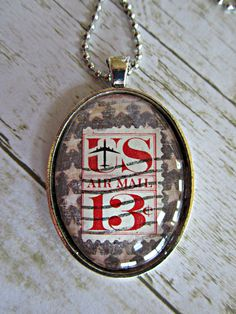 Postage Stamp Pendant, Postage Stamp Glass Tile Pendant, Air Mail Stamp Necklace, Americana Necklace, Postage Stamp Necklace, Pendants by BrownBeaverBeadery on Etsy